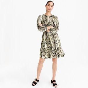 NWT J. Crew cinched waist snakeskin dress